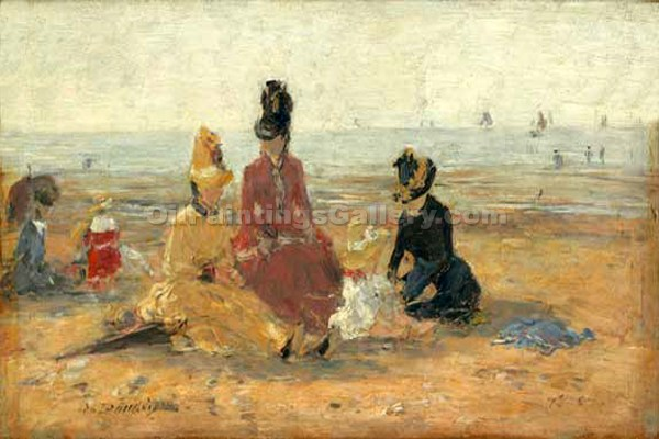 """On the Beach, Trouville"" by  Eugene Louis Boudin"