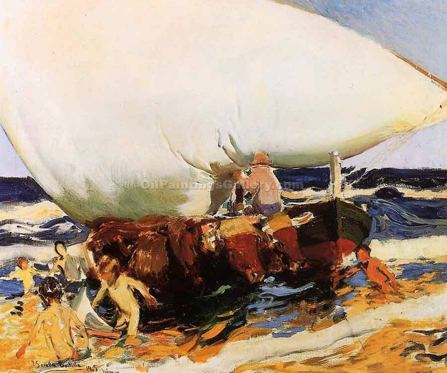 On the Beach, Valencia by Sorolla Bastida Joaquin | Famous Artists Paintings - Oil Paintings Gallery