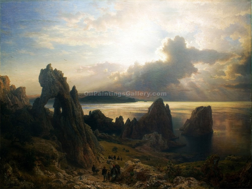 """On the Coast of Capri"" by  Andreas Achenbach"