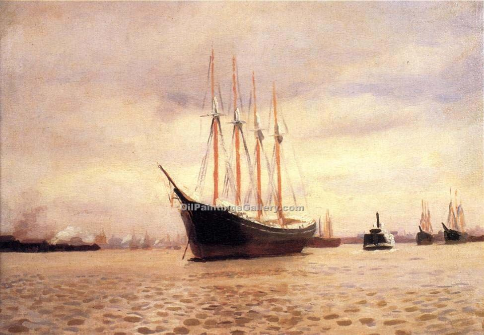 """On the Delaware at Tacony"" by  Thomas Pollock Anschutz"