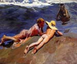 On the Sand, Valencia Beach by  Bastida Joaquin Sorolla (Painting ID: CL-0760-KA)