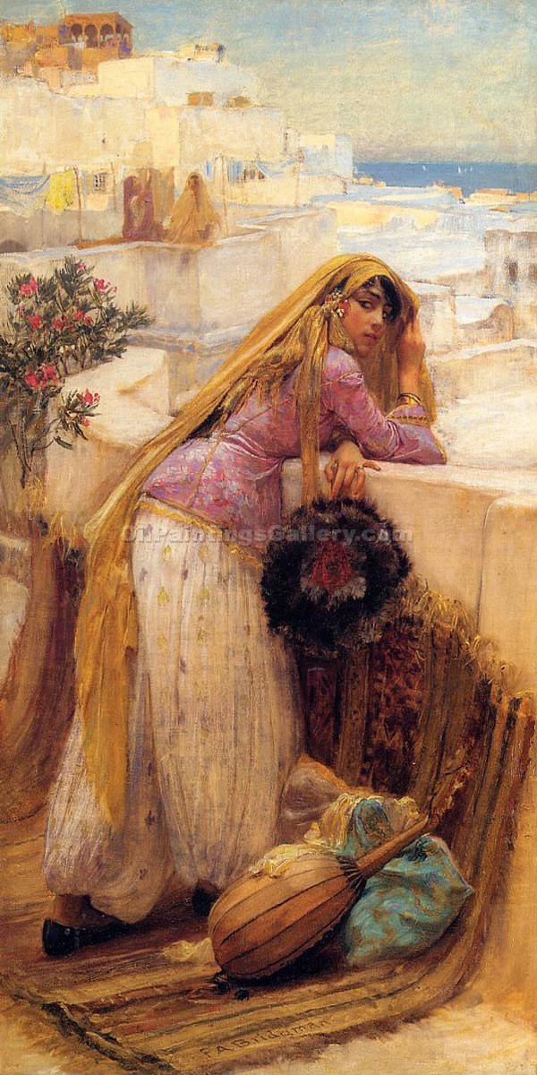On the Terrace by Frederick Arthur Bridgman | Art Online Store - Oil Paintings Gallery