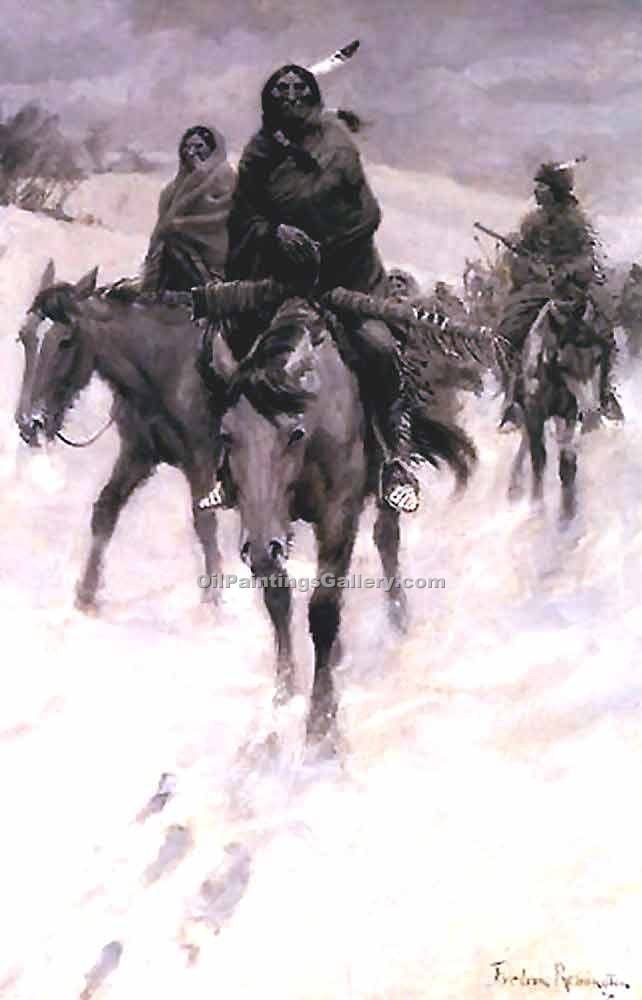 """On the Trail"" by  Frederic Remington"