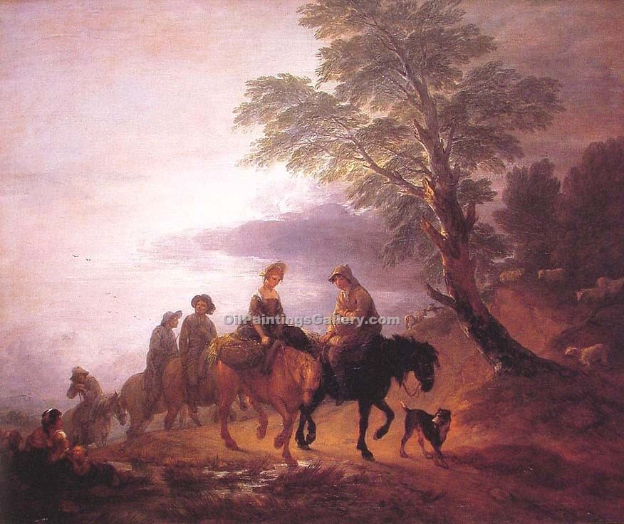 """Open Landscape with Mounted Peasants 15"" by  Thomas Gainsborough"