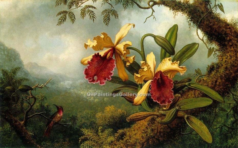 """Orchids and Hummingbird"" by  Martin Johnson Heade"
