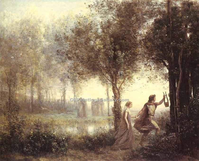 """Orpheus Leading Eurydice from the Underworld"" by  Jean Baptiste Corot"