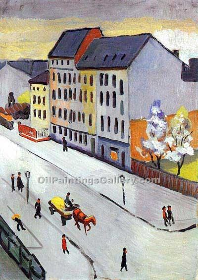 """Our Street in Grey"" by  August Macke"