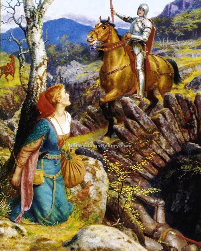 """Overthrowing of the Rusty Knight"" by  Arthur Hughes"