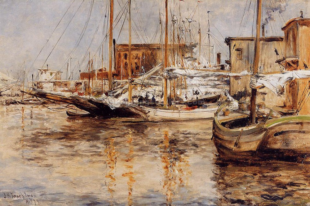 Oyster Boats, North River by John Twachtman | Painting Artists - Oil Paintings Gallery