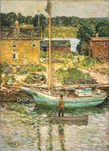 """Oyster Sloop"" by  Frederick Childe Hassam"