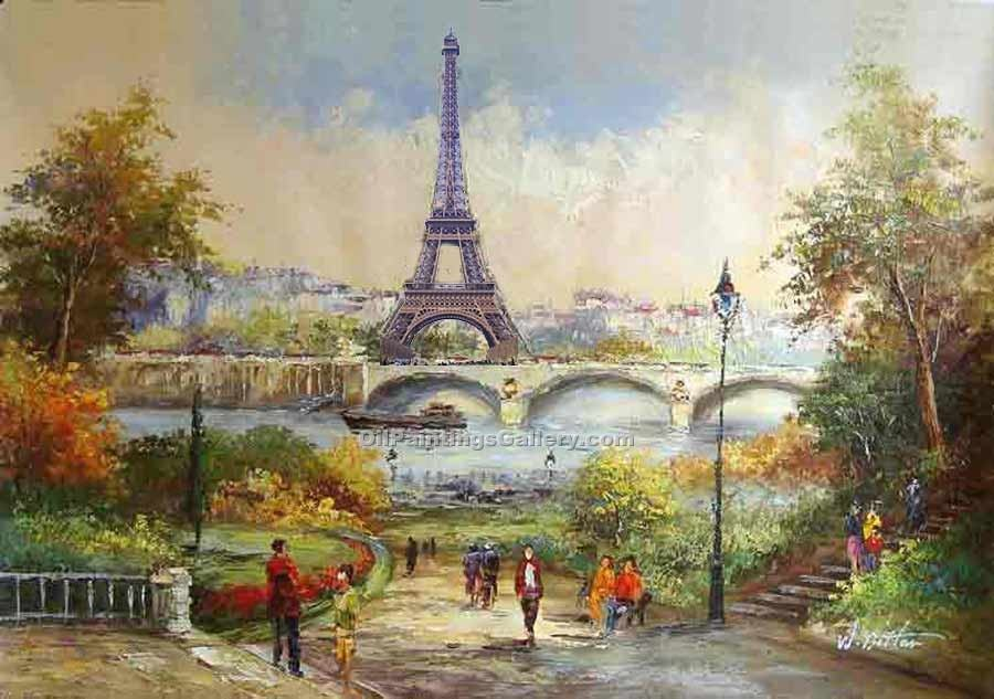 Buy Paintings of Famous Artists Oil Painting Online - Post Impressionism Paintings - Paris Eiffel Tower 07