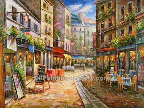 Buy Paintings of Famous Artists Oil Painting Online - Post Impressionism Paintings - Paris Street Scene 28