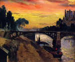 Paris, View of the Seine, Night by  Mathias J. Alten (Painting ID: CI-0012-KA)