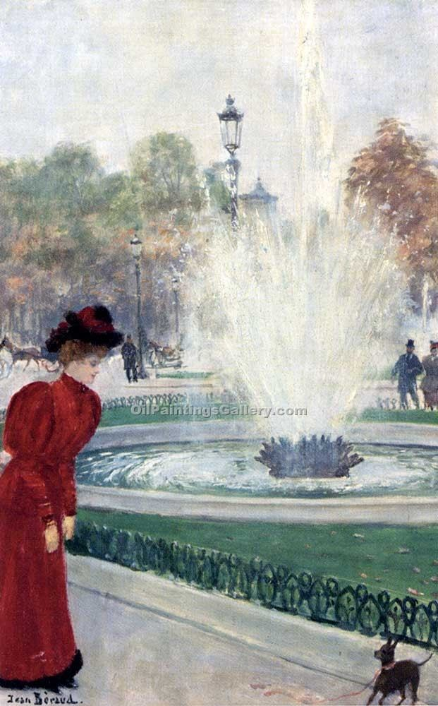 Parisienne au Rond Point Des Champs Elysees by Jean Beraud | Oil Art Gallery - Oil Paintings Gallery