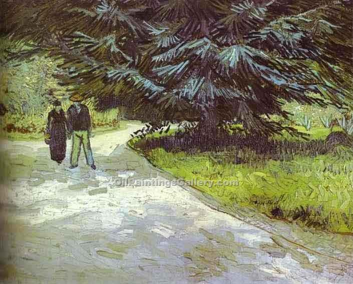 """Park with a Couple and a Blue Fir Tree"" by  Vincent Van Gogh"
