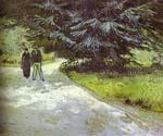 Park with a Couple and a Blue Fir Tree by  Vincent Van Gogh (Painting ID: VG-0118-KA)