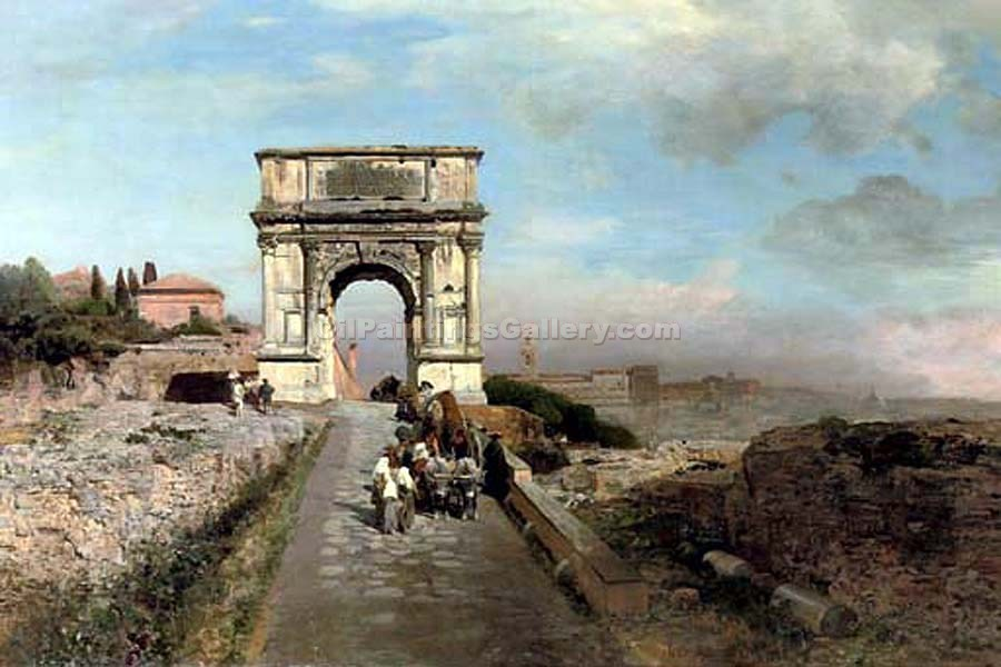 """Passing Through the Arch of Titus on the Via Sacra to Rome"" by  Oswald Achenbach"