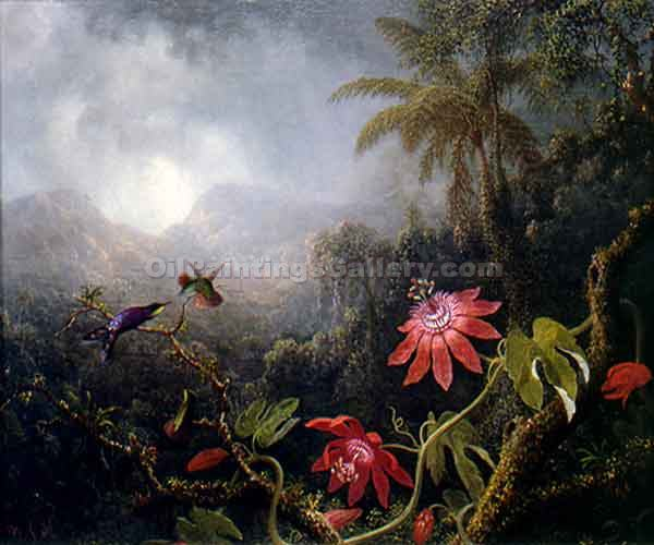 """Passion Flowers with Three Hummingbirds"" by  Martin Johnson Heade"
