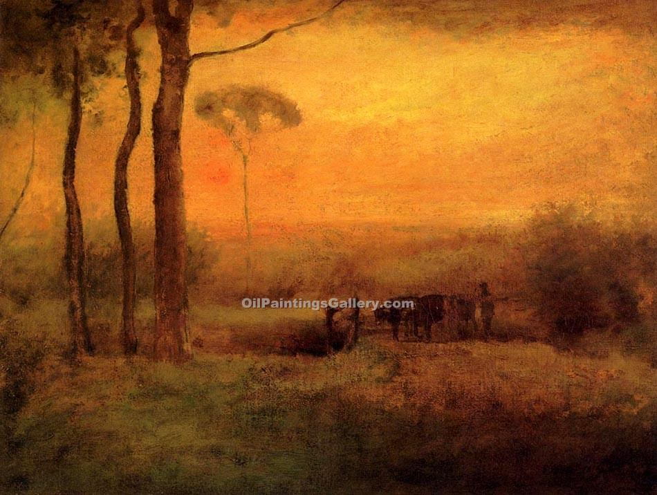 """Pastoral Landscape at Sunset"" by  George Inness"