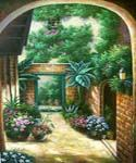 Patio Garden Oil Painting (ID: LA-1496-C)