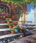 Patio Scene Oil Painting (ID: LA-1489-B)
