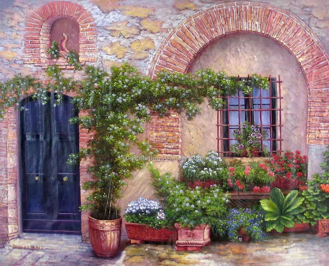 Buy Patio, Garden & Farming Oil Painting Online | Realism & Naturalism styles - Oil Paintings Gallery - Patio in Amalfi