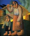 Peasant Woman with Buckets and a Child by  Kasimir Malevich (Painting ID: ED-0004-KA)