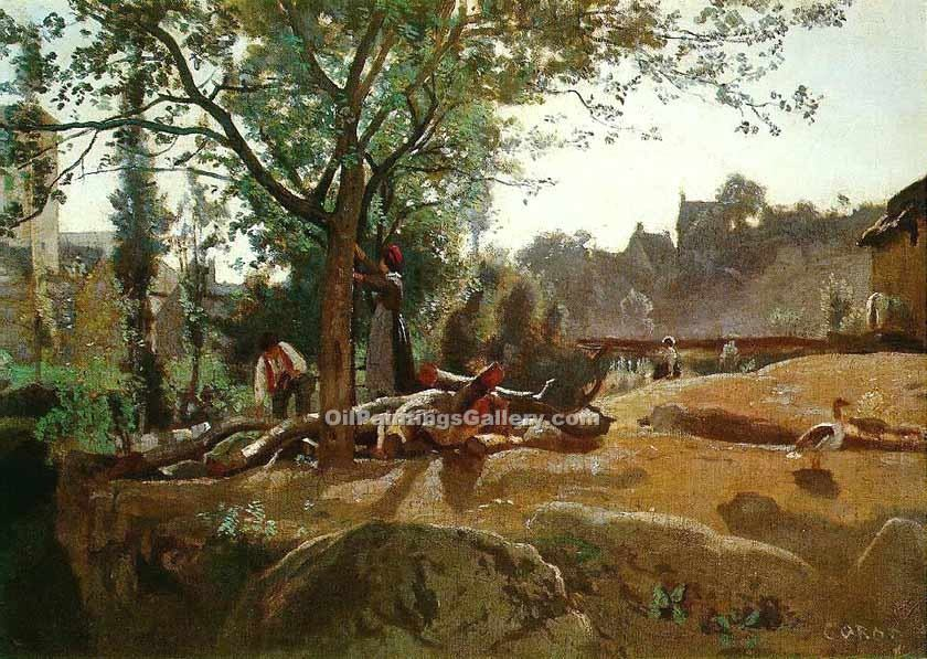 """Peasants under the Trees"" by  Jean Baptiste Corot"