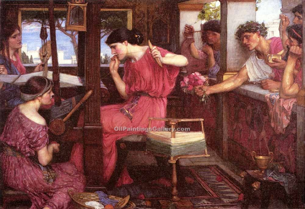 """Penelope and the Suitors"" by  John William Waterhouse"