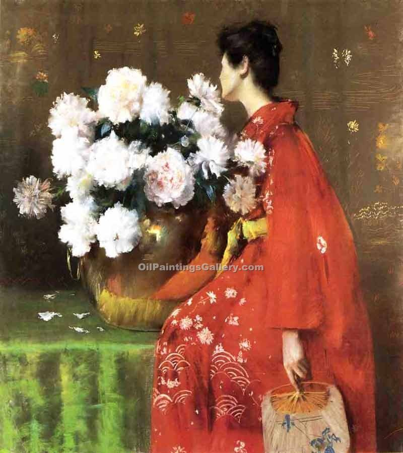 """Peonies 07"" by  William Merritt Chase"