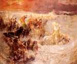 Pharoahs Army Engulfed by the Red Sea by  Frederick Arthur Bridgman (Painting ID: CL-0005-KA)