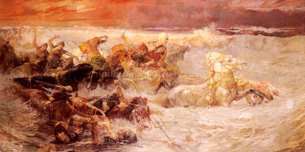 """Pharoahs Army Engulfed by the Red Sea"" by  Frederick Arthur Bridgman"