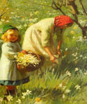 Picking Dafodils by  Harold Harvey (Painting ID: ED-0871-KA)