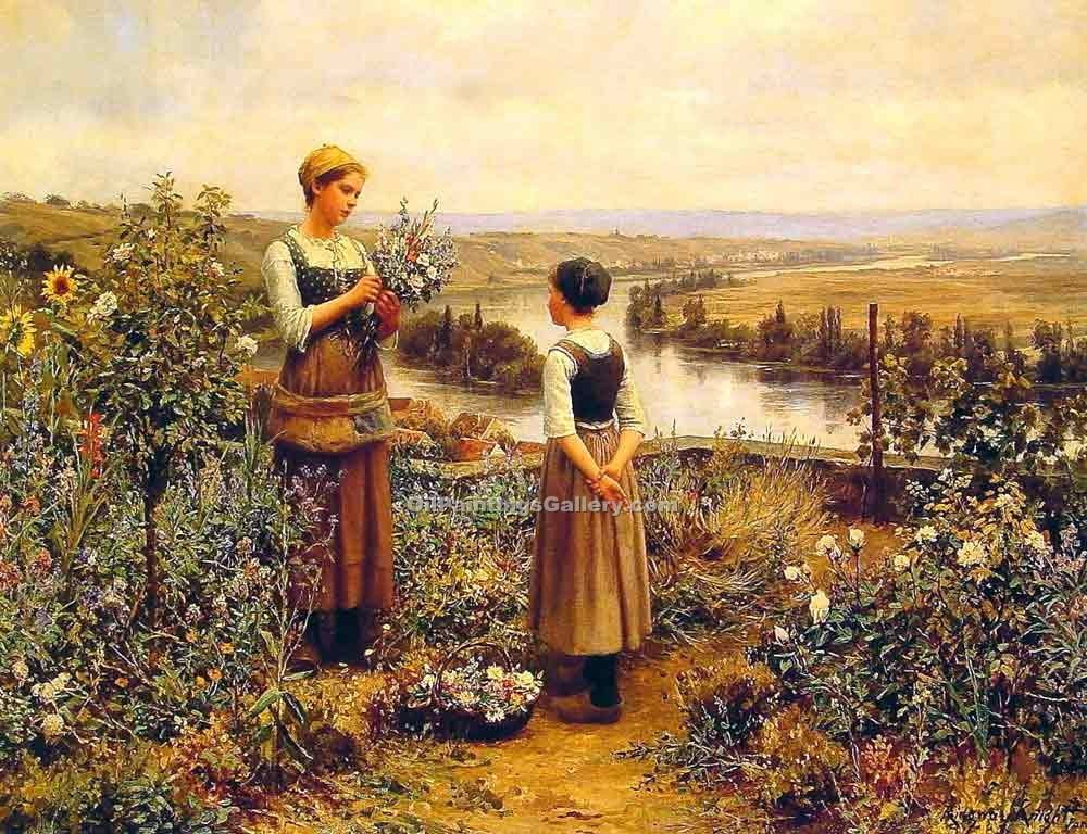 """Picking Flowers"" by  Daniel Ridgway Knight"