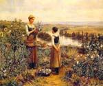 Picking Flowers by  Daniel Ridgway Knight (Painting ID: EI-0926-KA)
