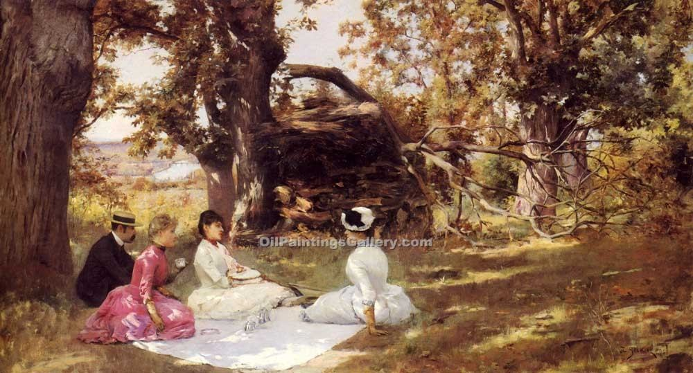 """Picnic Under The Trees"" by  Julius Stewart"