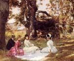 Picnic Under The Trees by  Julius Stewart (Painting ID: CL-4311-KA)