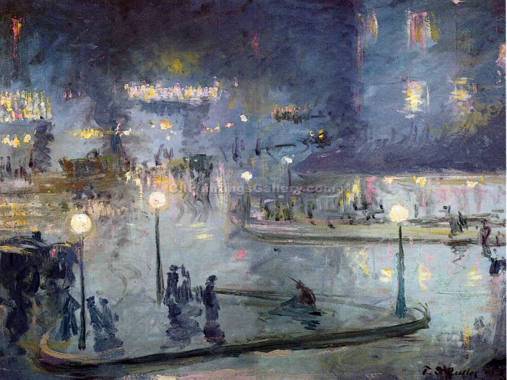 """Place du Rome at Night"" by Theodore Earl Butler"