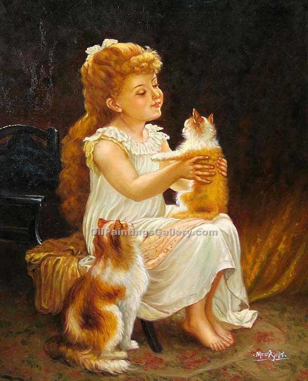 """Playing with the Kitten"" by  Emile Munier"