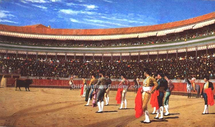 """Plaza de Toros The Entry of the Bull"" by  Jean Leon Gerome"