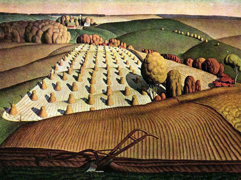 """Plowing"" by  Grant Wood"