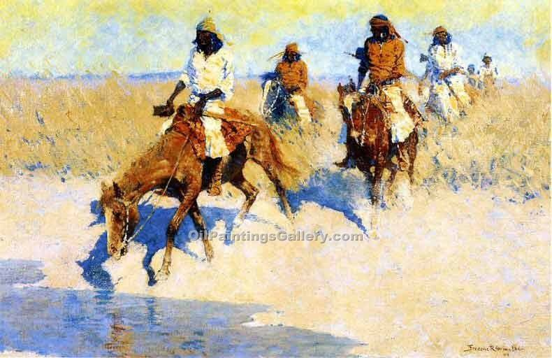 """Pool in the Desert"" by  Frederic Remington"