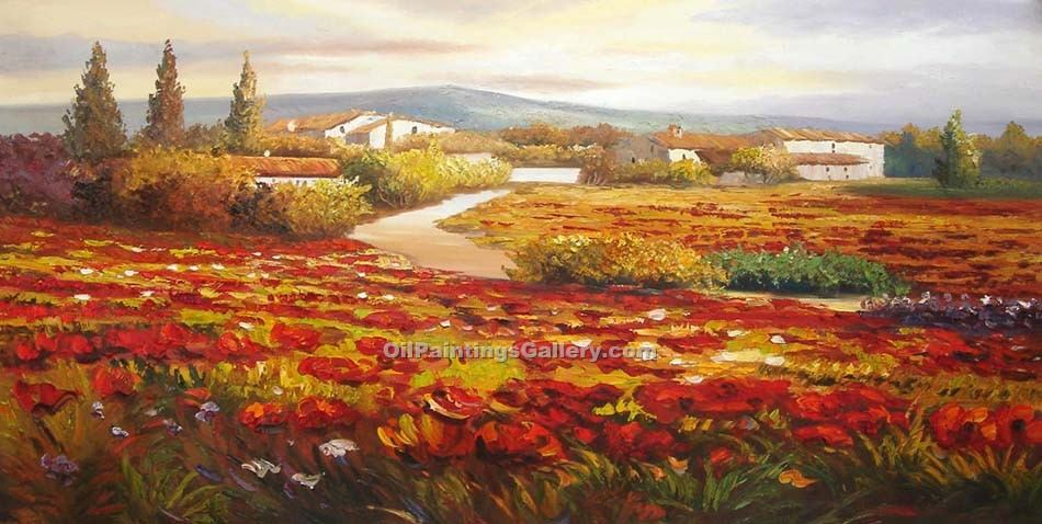 Buy Landscape Oil Painting Online - Post Impressionism Paintings - Poppy Field