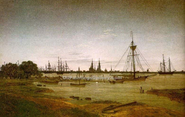 Port by Moonlight by Caspar David Friedrich | Best Online Art Gallery - Oil Paintings Gallery