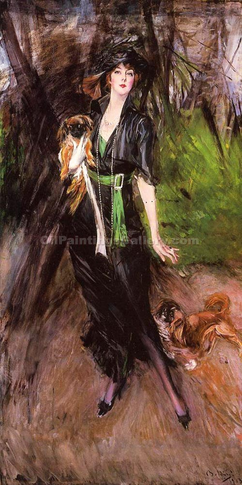 """Portrait of a Lady, Lina Bilitis, with Two Pekingese"" by  Giovanni Boldini"