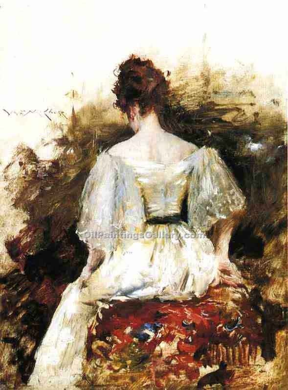 """Portrait of a Woman the White Dress"" by  William Merritt Chase"