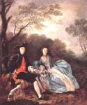 Portrait of the Artist with his Wife and Daughter by  Thomas Gainsborough (Painting ID: CM-1087-KA)