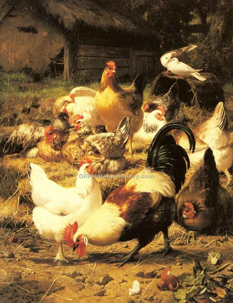 Poultry in a Farmyard by Eugene Remy Maes | Artwork Paintings - Oil Paintings Gallery