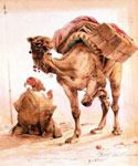 Praying Arab with a Secured Camel by  Ippolito Caffi (Painting ID: AN-2030-KA)