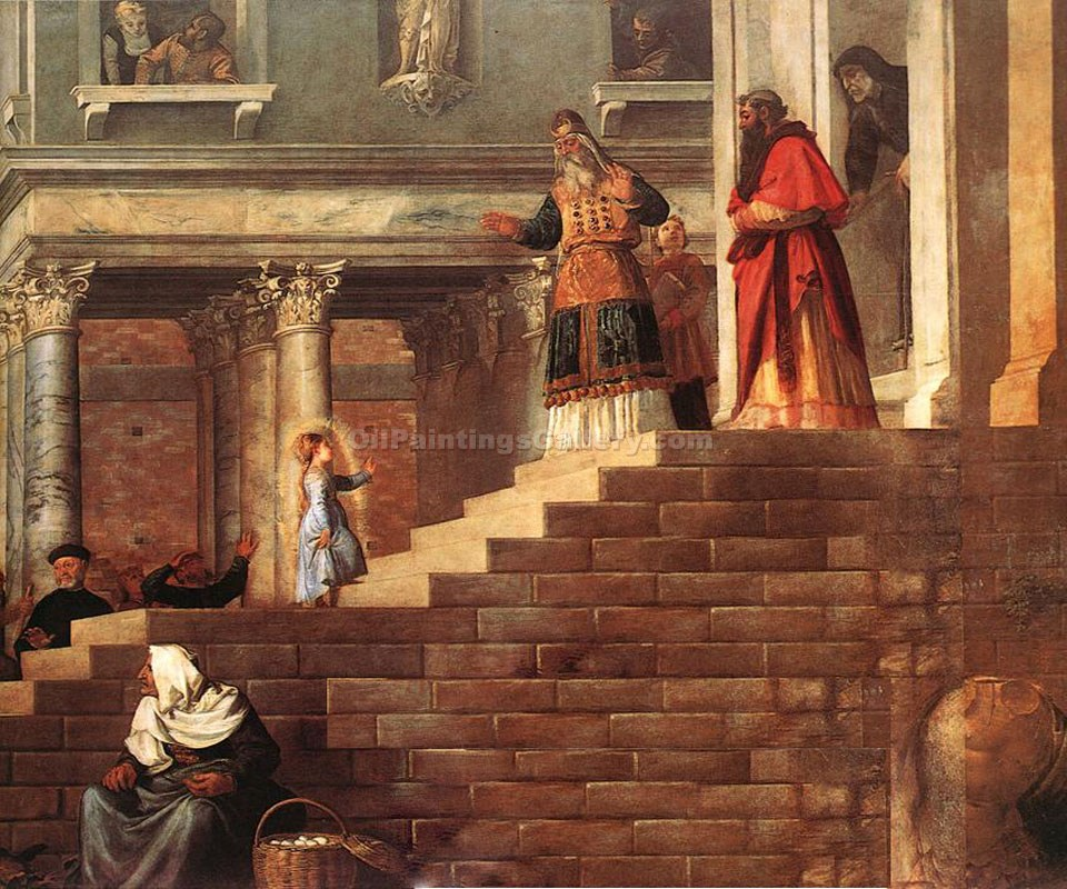 """Presentation of the Virgin at the Temple"" by   Titian"